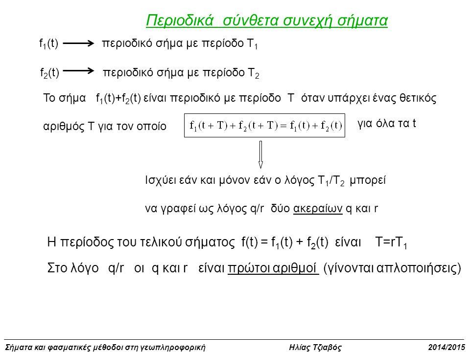 Σήματα και φασματικές μέθοδοι στη γεωπληροφορική Ηλίας Τζιαβός 2014/2015 Περιοδικά σύνθετα συνεχή σήματα f 1 (t)περιοδικό σήμα με περίοδο Τ 1 f 2 (t)περιοδικό σήμα με περίοδο Τ 2 Το σήμα f 1 (t)+f 2 (t) είναι περιοδικό με περίοδο Τ όταν υπάρχει ένας θετικός αριθμός Τ για τον οποίο για όλα τα t Ισχύει εάν και μόνον εάν ο λόγος Τ 1 /Τ 2 μπορεί να γραφεί ως λόγος q/r δύο ακεραίων q και r Η περίοδος του τελικού σήματος f(t) = f 1 (t) + f 2 (t) είναι Τ=rT 1 Στο λόγο q/r οι q και r είναι πρώτοι αριθμοί (γίνονται απλοποιήσεις)
