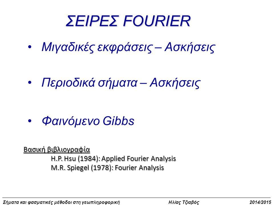 Σήματα και φασματικές μέθοδοι στη γεωπληροφορική Ηλίας Τζιαβός 2014/2015 Προσέγγιση σειράς Fourier με περιορισμένο αριθμό όρων σφάλμα στην προσέγγιση της συνάρτησης Μέσο τετραγωνικό σφάλμα Ε κ (τ)
