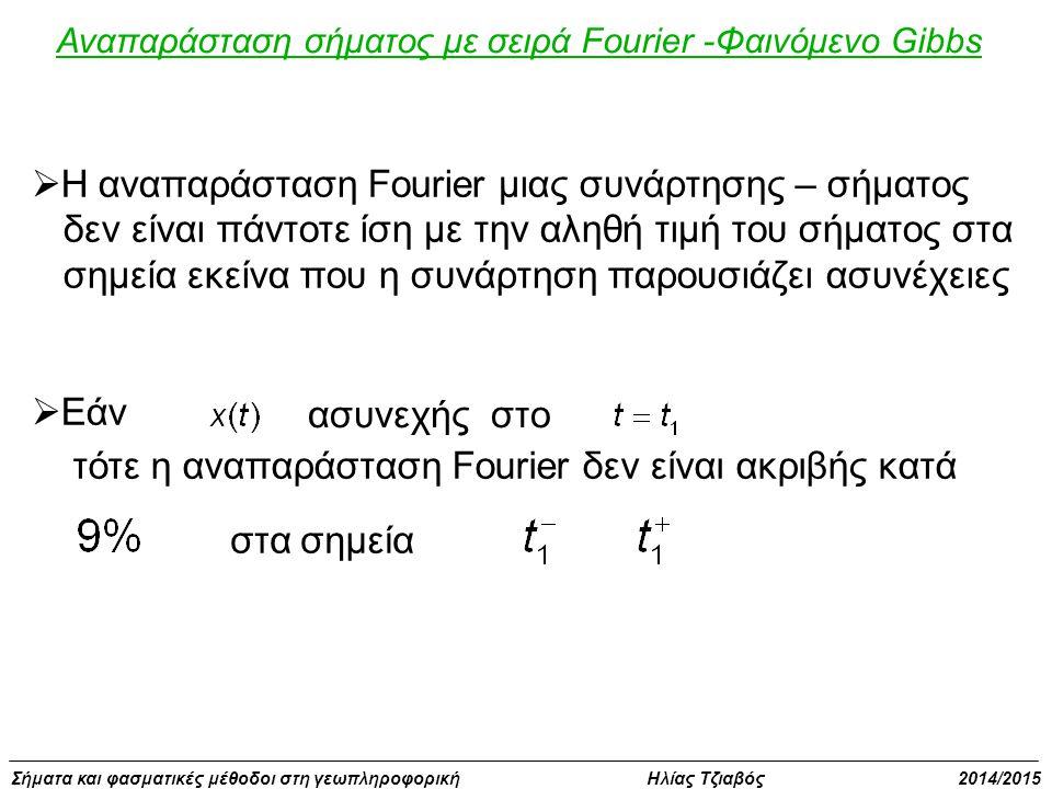Σήματα και φασματικές μέθοδοι στη γεωπληροφορική Ηλίας Τζιαβός 2014/2015 Αναπαράσταση σήματος με σειρά Fourier -Φαινόμενο Gibbs  Η αναπαράσταση Fourier μιας συνάρτησης – σήματος δεν είναι πάντοτε ίση με την αληθή τιμή του σήματος στα σημεία εκείνα που η συνάρτηση παρουσιάζει ασυνέχειες  Εάν ασυνεχής στο τότε η αναπαράσταση Fourier δεν είναι ακριβής κατά στα σημεία