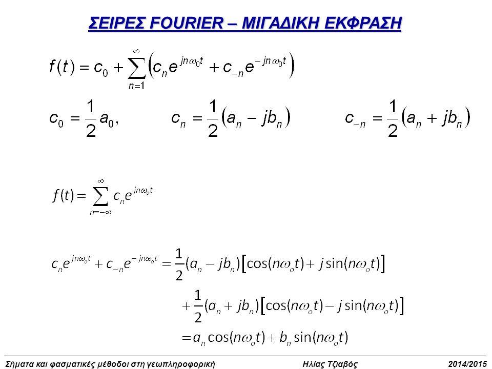 Σήματα και φασματικές μέθοδοι στη γεωπληροφορική Ηλίας Τζιαβός 2014/2015 Ασκήσεις με περιοδικά σήματα cos(θ+2kπ)=cosθ cos2kπ-sinθ sin2kπ cos(θ+2kπ)=cosθ για κάθε ακέραιο k cos2kπ=1 sin2kπ=0 Άρα: cos2(t+T) = cos2t cos(2t+2T) = cos2t Και επειδή cos(θ+2kπ) = cosθ 2Τ=2kπ Τ=kπ Για κ=1 έχουμε τη μικρότερη τιμή του π Άρα Τ=π Να βρεθεί η περίοδος της Διαφορετικά: H f(t) είναι περιοδική ω=2 Τ=2π/ω=2π/2=π Τ=π