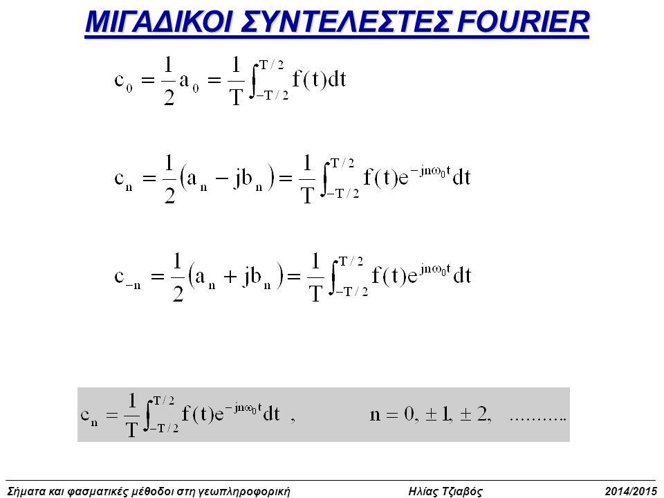 Σήματα και φασματικές μέθοδοι στη γεωπληροφορική Ηλίας Τζιαβός 2014/2015 Ασκήσεις με περιοδικά σήματα f 1 (t) = cos(πt/2) f 2 (t) = cos(πt/3) f(t)= f 1 (t) + f 2 (t) Nα βρεθούν οι περίοδοι Τ, Τ 1, Τ 2 Λόγος ακεραίων – πρώτοι αριθμοί Το σήμα f(t)= f 1 (t) + f 2 (t) είναι περιοδικό Τ = T 1 x r = 4 x 3 = 12 Χρησιμοποιήθηκε το τυπολόγιο ΠΡΟΣΟΧΗ: Οι q, r πρώτοι αριθμοί
