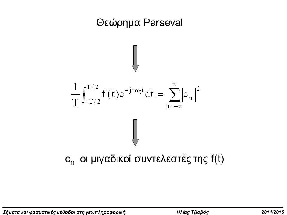 Σήματα και φασματικές μέθοδοι στη γεωπληροφορική Ηλίας Τζιαβός 2014/2015 Περιοδικά συνεχή σήματα f(t+T)=f(t) για όλα τα t, Αν η f(t) είναι περιοδική με περίοδο Τ είναι επίσης περιοδική με περίοδο kΤ όπου k κάθε θετικός ακέραιος Η θεμελιώδης συχνότητα είναι η μικρότερη θετική τιμή του t για την οποία ισχύει f(t+T)=f(t) Παράδειγμα