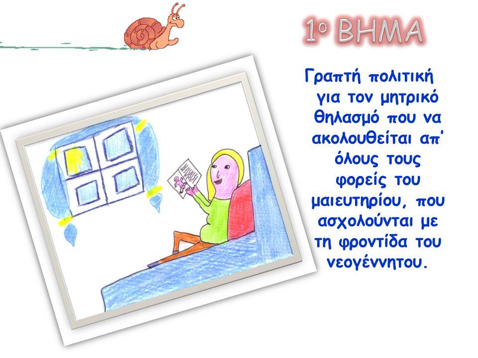 Γραπτή πολιτική για τον μητρικό θηλασμό που να ακολουθείται απ' όλους τους φορείς του μαιευτηρίου, που ασχολούνται με τη φροντίδα του νεογέννητου.