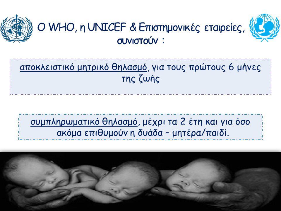 Ο WHO, η UNICEF & Επιστημονικές εταιρείες, συνιστούν : αποκλειστικό μητρικό θηλασμό, για τους πρώτους 6 μήνες της ζωής συμπληρωματικό θηλασμό, μέχρι τ