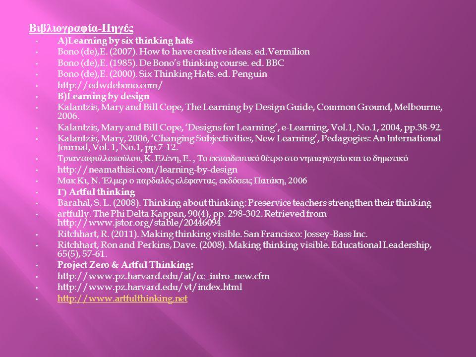 Βιβλιογραφία - Πηγές A)Learning by six thinking hats Bono (de),E. (2007). How to have creative ideas. ed.Vermilion Bono (de),E. (1985). De Bono's thin