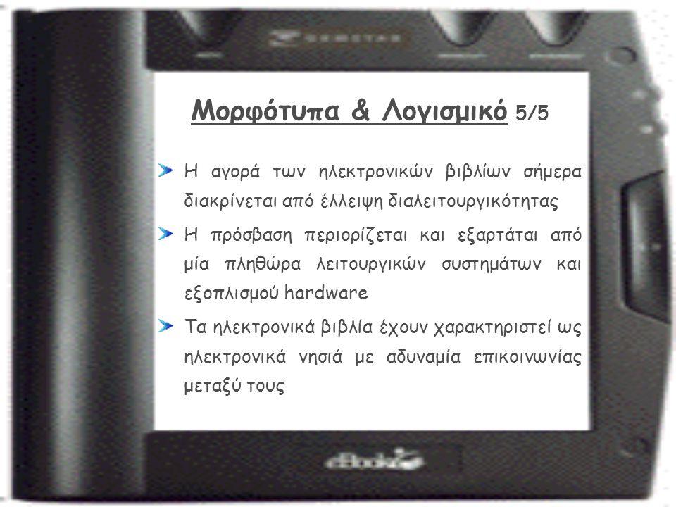 Μορφότυπα & Λογισμικό 5/5 Η αγορά των ηλεκτρονικών βιβλίων σήμερα διακρίνεται από έλλειψη διαλειτουργικότητας Η πρόσβαση περιορίζεται και εξαρτάται από μία πληθώρα λειτουργικών συστημάτων και εξοπλισμού hardware Τα ηλεκτρονικά βιβλία έχουν χαρακτηριστεί ως ηλεκτρονικά νησιά με αδυναμία επικοινωνίας μεταξύ τους