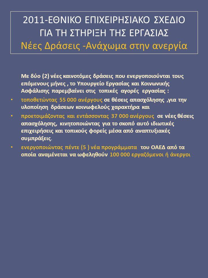 2011-ΕΘΝΙΚΟ EΠΙΧΕΙΡΗΣΙΑΚΟ ΣΧΕΔΙΟ ΓΙΑ ΤΗ ΣΤΗΡΙΞΗ ΤΗΣ ΕΡΓΑΣΙΑΣ Νέες Δράσεις -Ανάχωμα στην ανεργία Με δύο (2) νέες καινοτόμες δράσεις που ενεργοποιούνται