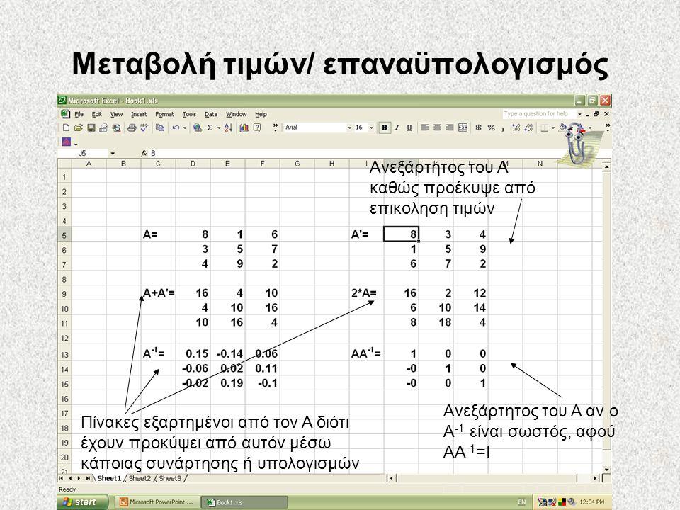 Μεταβολή τιμών/ επαναϋπολογισμός Πίνακες εξαρτημένοι από τον Α διότι έχουν προκύψει από αυτόν μέσω κάποιας συνάρτησης ή υπολογισμών Ανεξάρτητος του Α αν ο Α -1 είναι σωστός, αφού ΑΑ -1 =Ι Ανεξάρτητος του Α καθώς προέκυψε από επικοληση τιμών