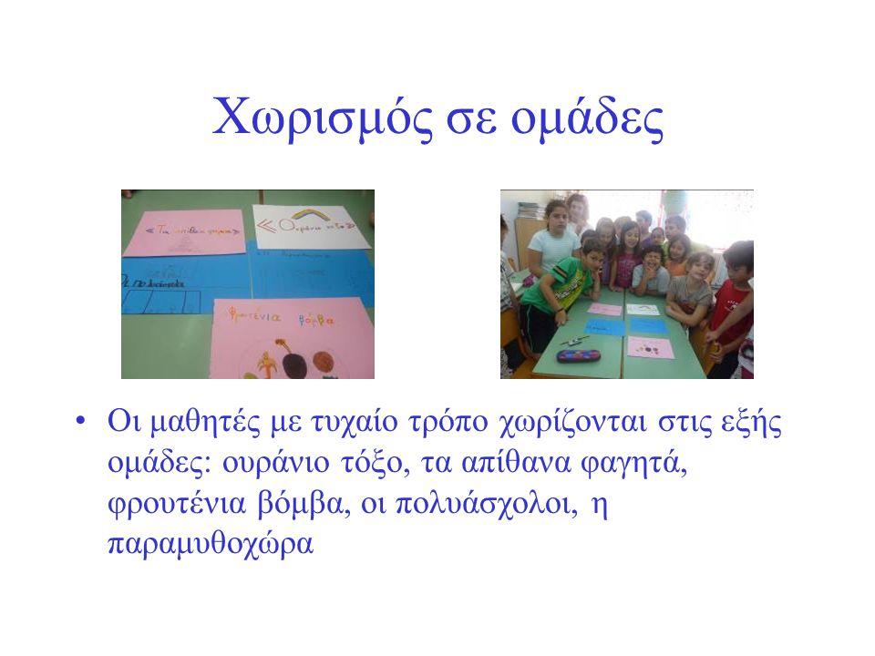 Χωρισμός σε ομάδες Οι μαθητές με τυχαίο τρόπο χωρίζονται στις εξής ομάδες: ουράνιο τόξο, τα απίθανα φαγητά, φρουτένια βόμβα, οι πολυάσχολοι, η παραμυθοχώρα