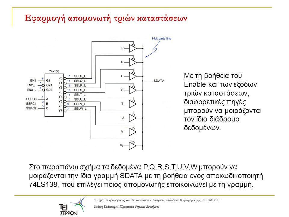 Στο παραπάνω σχήμα τα δεδομένα P,Q,R,S,T,U,V,W μπορούν να μοιράζονται την ίδια γραμμή SDATA με τη βοήθεια ενός αποκωδικοποιητή 74LS138, που επιλέγει π