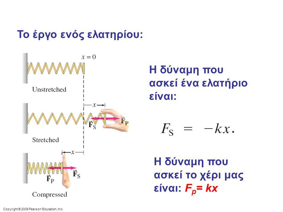 Copyright © 2009 Pearson Education, Inc. Το έργο ενός ελατηρίου: Η δύναμη που ασκεί ένα ελατήριο είναι:. Η δύναμη που ασκεί το χέρι μας είναι: F p = k