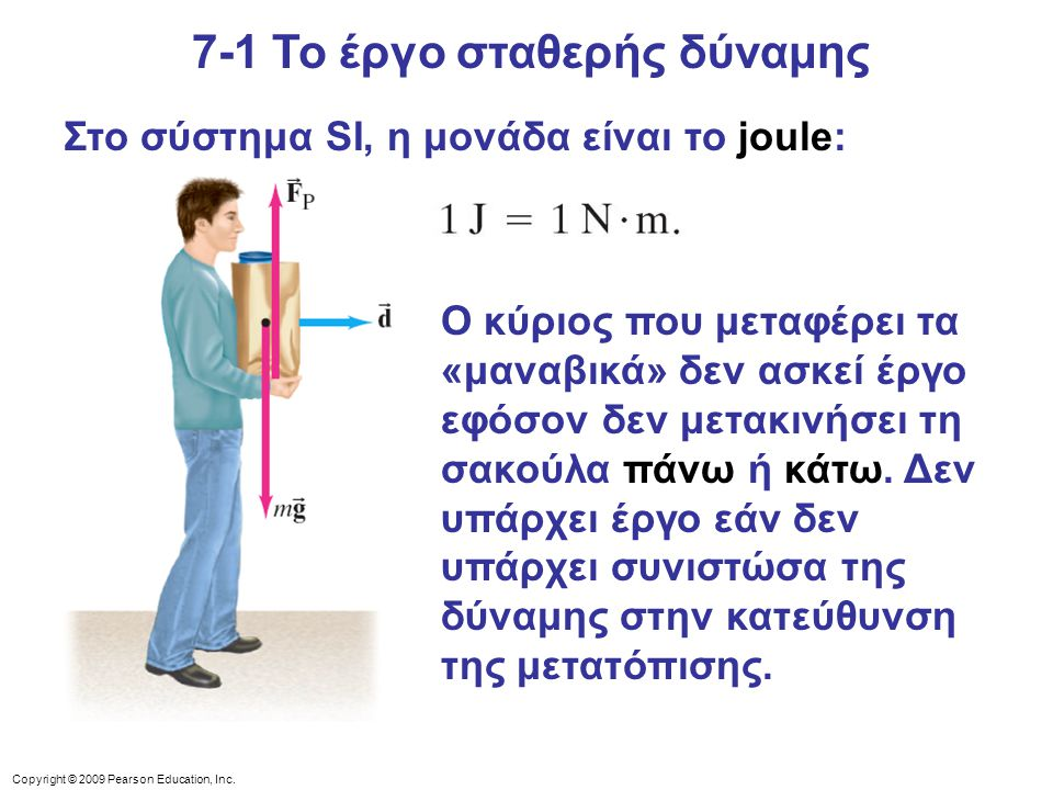Copyright © 2009 Pearson Education, Inc. Στο σύστημα SI, η μονάδα είναι το joule: Ο κύριος που μεταφέρει τα «μαναβικά» δεν ασκεί έργο εφόσον δεν μετακ