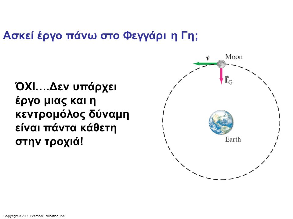 Copyright © 2009 Pearson Education, Inc. Ασκεί έργο πάνω στο Φεγγάρι η Γη; ΌΧΙ….Δεν υπάρχει έργο μιας και η κεντρομόλος δύναμη είναι πάντα κάθετη στην
