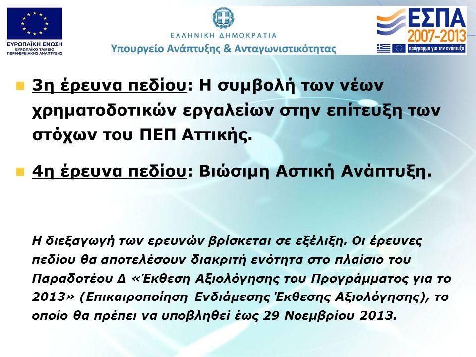 3η έρευνα πεδίου: H συμβολή των νέων χρηματοδοτικών εργαλείων στην επίτευξη των στόχων του ΠΕΠ Αττικής.