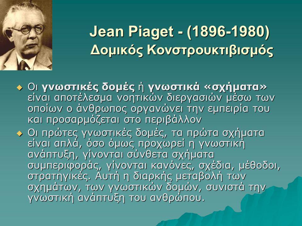 Jean Piaget - (1896-1980) Δομικός Κονστρουκτιβισμός  Οι γνωστικές δομές ή γνωστικά «σχήματα» είναι αποτέλεσμα νοητικών διεργασιών μέσω των οποίων ο ά