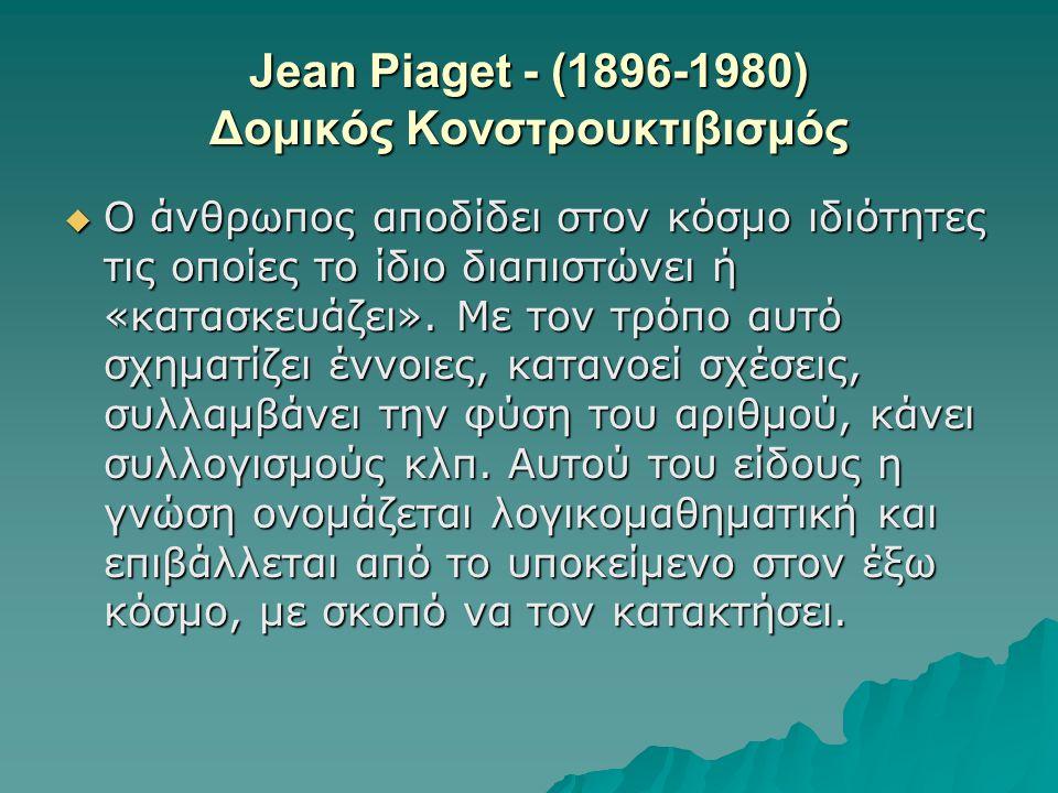 Jean Piaget - (1896-1980) Δομικός Κονστρουκτιβισμός  Ο άνθρωπος αποδίδει στον κόσμο ιδιότητες τις οποίες το ίδιο διαπιστώνει ή «κατασκευάζει». Με τον