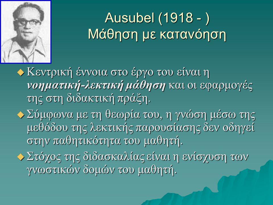Ausubel (1918 - ) Μάθηση με κατανόηση  Κεντρική έννοια στο έργο του είναι η νοηματική-λεκτική μάθηση και οι εφαρμογές της στη διδακτική πράξη.  Σύμφ