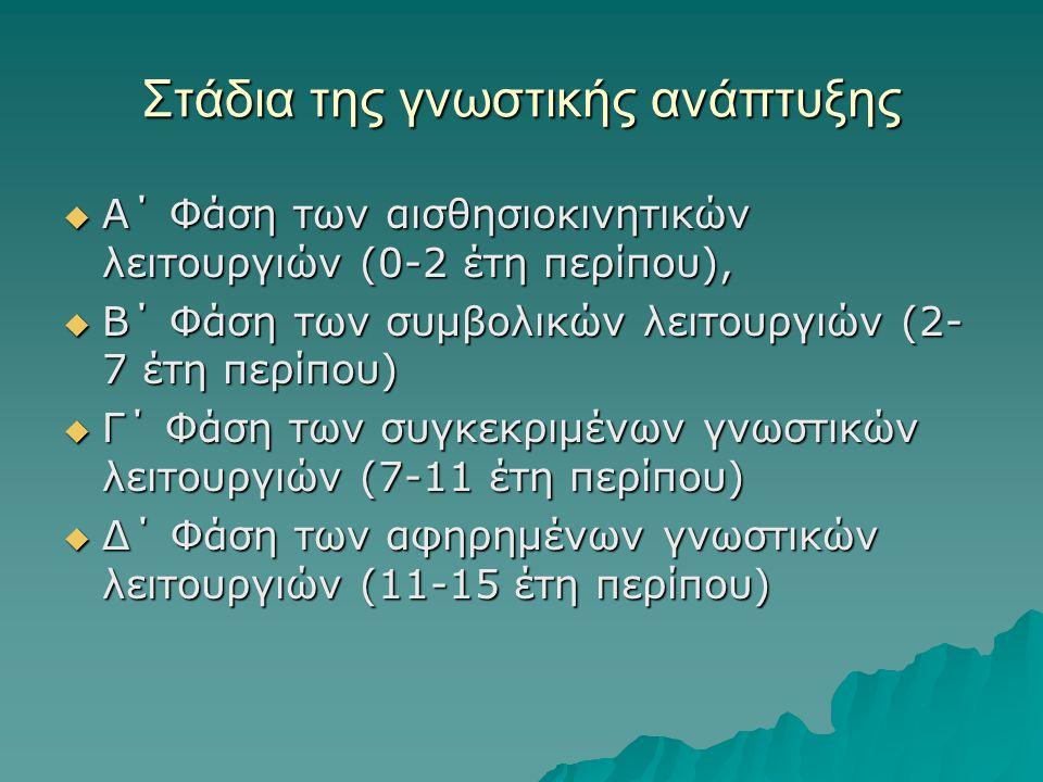  Α΄ Φάση των αισθησιοκινητικών λειτουργιών (0-2 έτη περίπου),  Β΄ Φάση των συμβολικών λειτουργιών (2- 7 έτη περίπου)  Γ΄ Φάση των συγκεκριμένων γνω