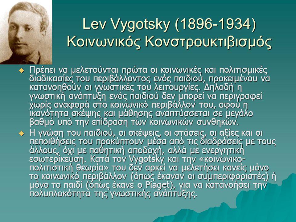 Lev Vygotsky (1896-1934) Κοινωνικός Κονστρουκτιβισμός  Πρέπει να μελετούνται πρώτα οι κοινωνικές και πολιτισμικές διαδικασίες του περιβάλλοντος ενός
