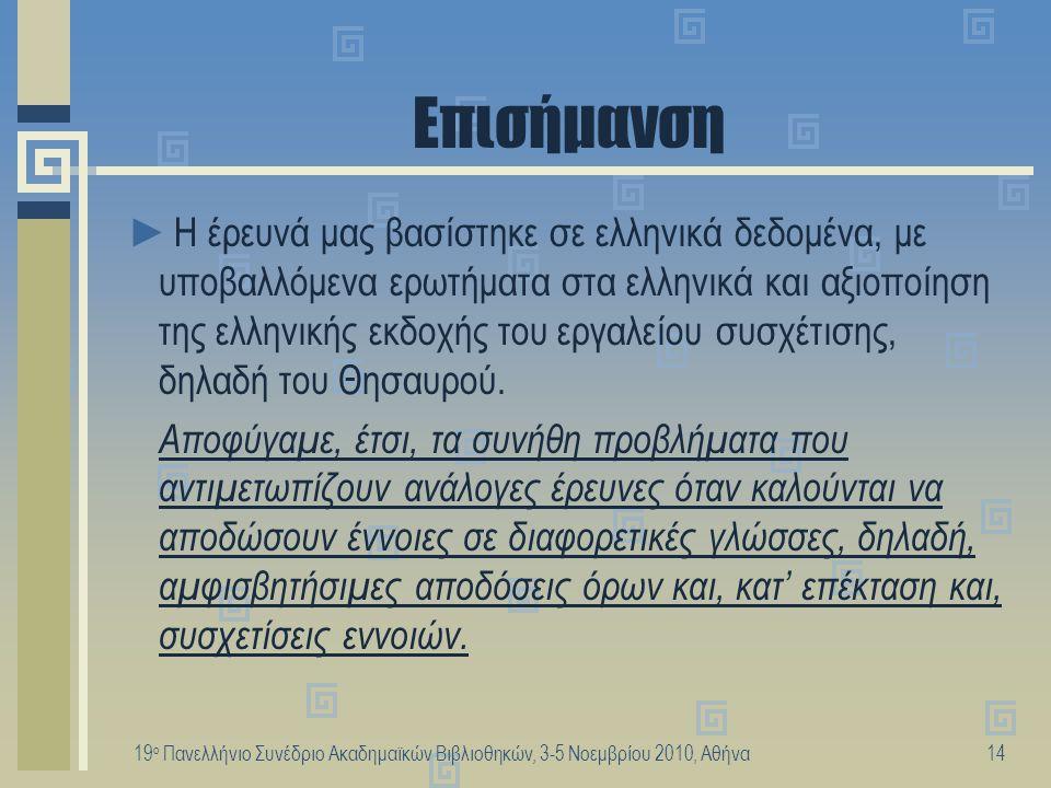 19 ο Πανελλήνιο Συνέδριο Ακαδημαϊκών Βιβλιοθηκών, 3-5 Νοεμβρίου 2010, Αθήνα15 Συμπεράσματα (1) ►Ο παρεχόμενος όρος επηρεάζει σημαντικά την επιλογή του πρώτου όρου αναζήτησης (σύνθεση) ►Οι χρήστες κυρίως επιλέγουν ειδικότερο ή γενικότερο όρο → ευνοείται η αξιοποίηση της ιεραρχίας του Θησαυρού για διεύρυνση των ερωτημάτων ►Η χρήση παράλληλου όρου θα πρέπει να ευνοείται αρχικά από το θέμα.