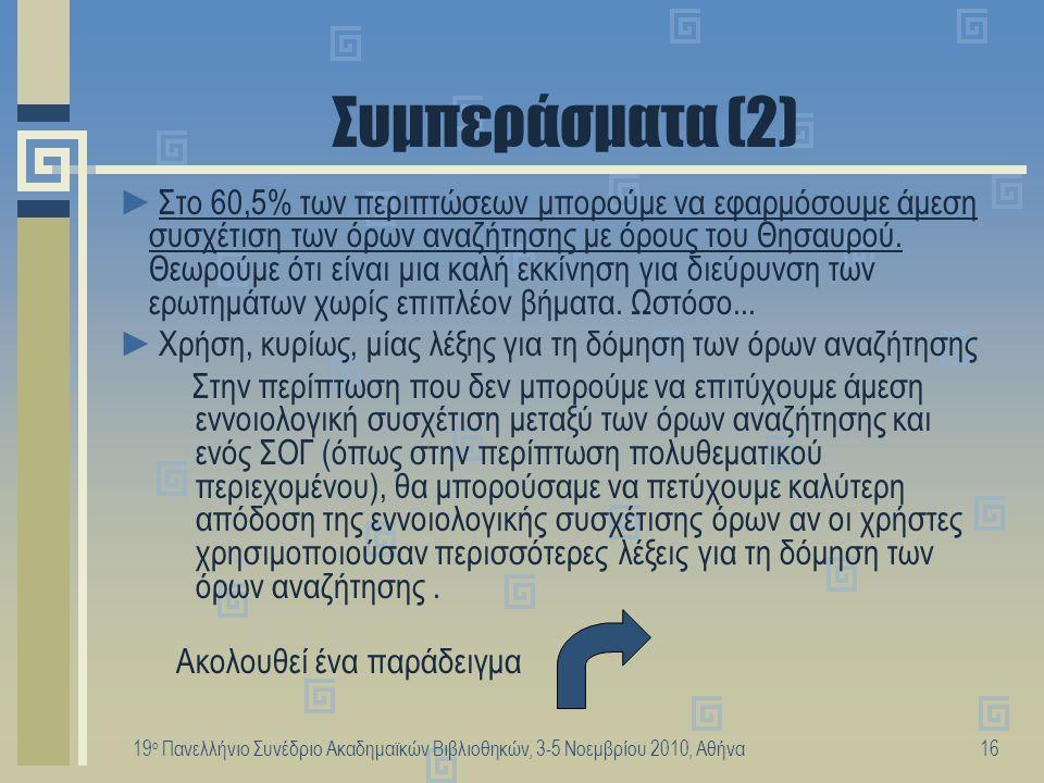 19 ο Πανελλήνιο Συνέδριο Ακαδημαϊκών Βιβλιοθηκών, 3-5 Νοεμβρίου 2010, Αθήνα16 Συμπεράσματα (2) ►Στο 60,5% των περιπτώσεων μπορούμε να εφαρμόσουμε άμεσ