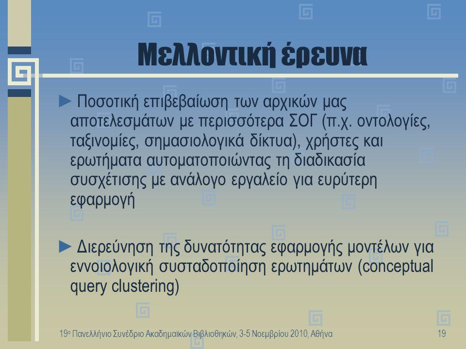 19 ο Πανελλήνιο Συνέδριο Ακαδημαϊκών Βιβλιοθηκών, 3-5 Νοεμβρίου 2010, Αθήνα19 Μελλοντική έρευνα ►Ποσοτική επιβεβαίωση των αρχικών μας αποτελεσμάτων με