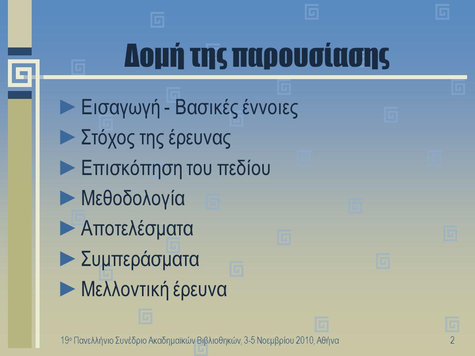 19 ο Πανελλήνιο Συνέδριο Ακαδημαϊκών Βιβλιοθηκών, 3-5 Νοεμβρίου 2010, Αθήνα3 Εισαγωγή - Βασικές έννοιες ►Γνωσιακή Ανάκτηση Πληροφορίας (Cognitive Information Retrieval) ►Εννοιολογική Διεύρυνση Ερωτημάτων (Conceptual Query Expansion) ►Συστήματα Οργάνωσης της Γνώσης (ΣΟΓ) (Knowledge Organisation Systems) ►Πολυ-αναπαράσταση της Γνώσης (Knowledge Poly-representation) ►Χρήστες, μη-ειδικοί (Users, non-experts)