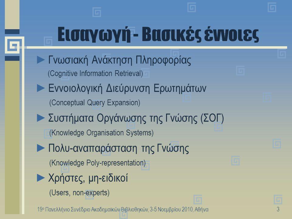 19 ο Πανελλήνιο Συνέδριο Ακαδημαϊκών Βιβλιοθηκών, 3-5 Νοεμβρίου 2010, Αθήνα4 Στόχος της έρευνας Διερεύνηση των προτύπων συμπεριφοράς των χρηστών κατά την επιλογή και δόμηση των όρων αναζήτησης ►καταγράφοντας την αντίληψη για την αναπαράσταση της γνώσης που έχουν οι χρήστες (μη-ειδικοί), σε αντιπαραβολή με ►την αναπαράσταση της γνώσης σε υφιστάμενα Συστήματα Οργάνωσης της Γνώσης (ΣΟΓ), με σκοπό να εντοπίσουμε τις περιπτώσεις στις οποίες μπορούν να χρησιμεύσουν τα ΣΟΓ για εννοιολογική διεύρυνση των ερωτημάτων