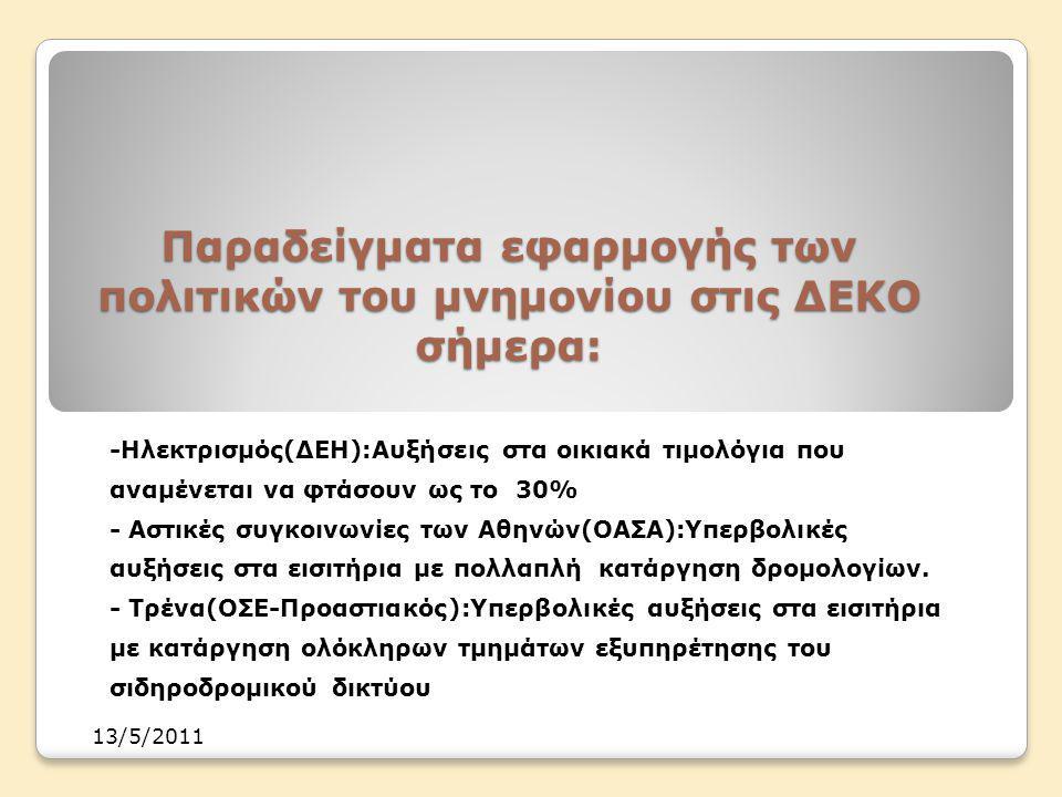 Παραδείγματα εφαρμογής των πολιτικών του μνημονίου στις ΔΕΚΟ σήμερα: -Ηλεκτρισμός(ΔΕΗ):Αυξήσεις στα οικιακά τιμολόγια που αναμένεται να φτάσουν ως το