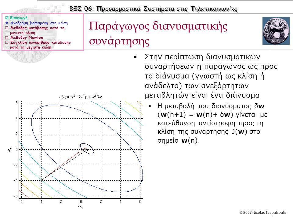 ΒΕΣ 06: Προσαρμοστικά Συστήματα στις Τηλεπικοινωνίες © 2007 Nicolas Tsapatsoulis Παράγωγος διανυσματικής συνάρτησης  Στην περίπτωση διανυσματικών συναρτήσεων η παράγωγος ως προς το διάνυσμα (γνωστή ως κλίση ή ανάδελτα) των ανεξάρτητων μεταβλητών είναι ένα διάνυσμα  Η μεταβολή του διανύσματος δw (w(n+1) = w(n)+ δw) γίνεται με κατεύθυνση αντίστροφη προς τη κλίση της συνάρτησης J(w) στο σημείο w(n).