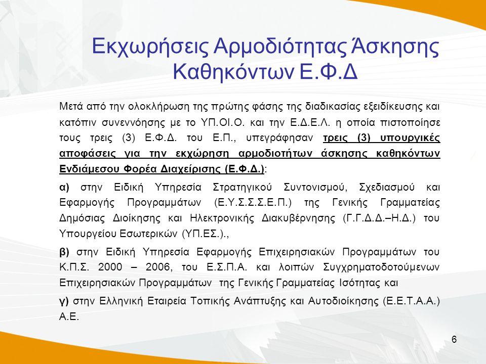 6 Εκχωρήσεις Αρμοδιότητας Άσκησης Καθηκόντων Ε.Φ.Δ Μετά από την ολοκλήρωση της πρώτης φάσης της διαδικασίας εξειδίκευσης και κατόπιν συνεννόησης με το ΥΠ.ΟΙ.Ο.