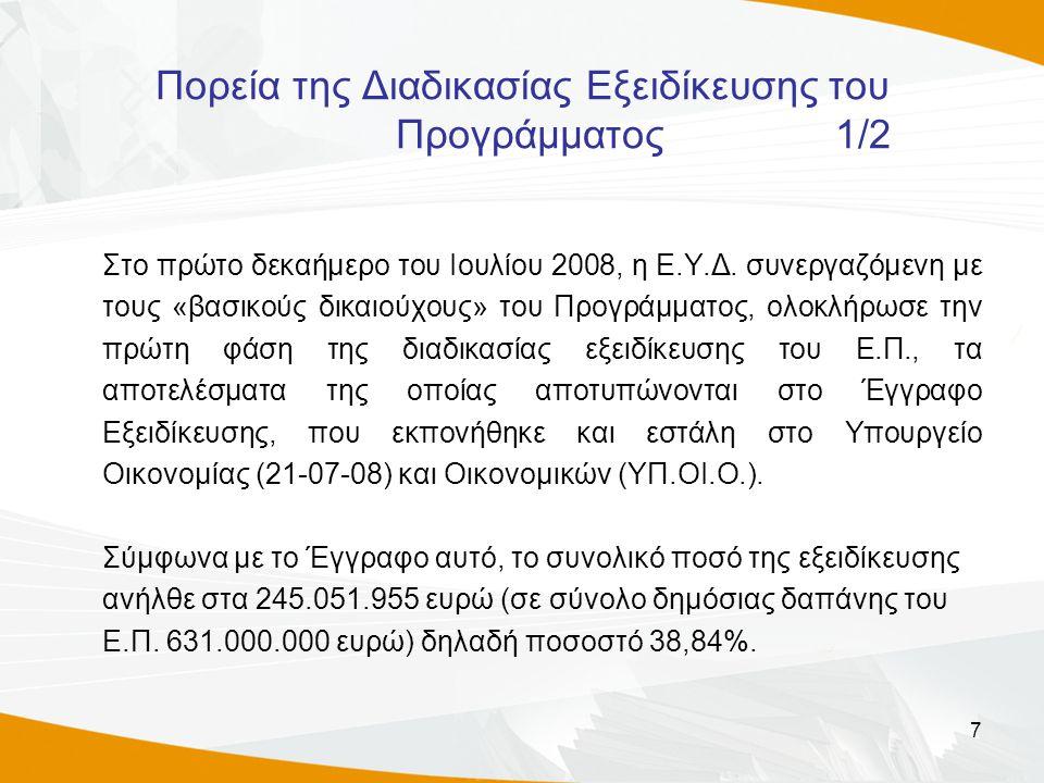 7 Πορεία της Διαδικασίας Εξειδίκευσης του Προγράμματος 1/2 Στο πρώτο δεκαήμερο του Ιουλίου 2008, η Ε.Υ.Δ. συνεργαζόμενη με τους «βασικούς δικαιούχους»