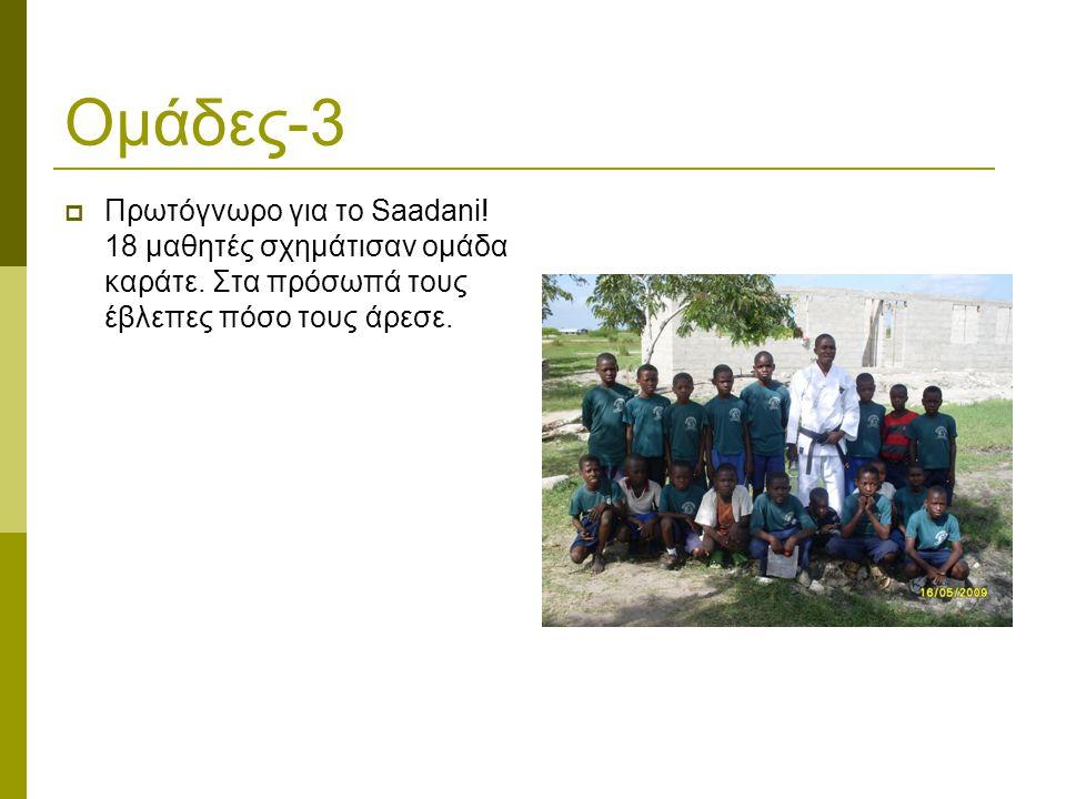 Ομάδες-3  Πρωτόγνωρο για το Saadani. 18 μαθητές σχημάτισαν ομάδα καράτε.