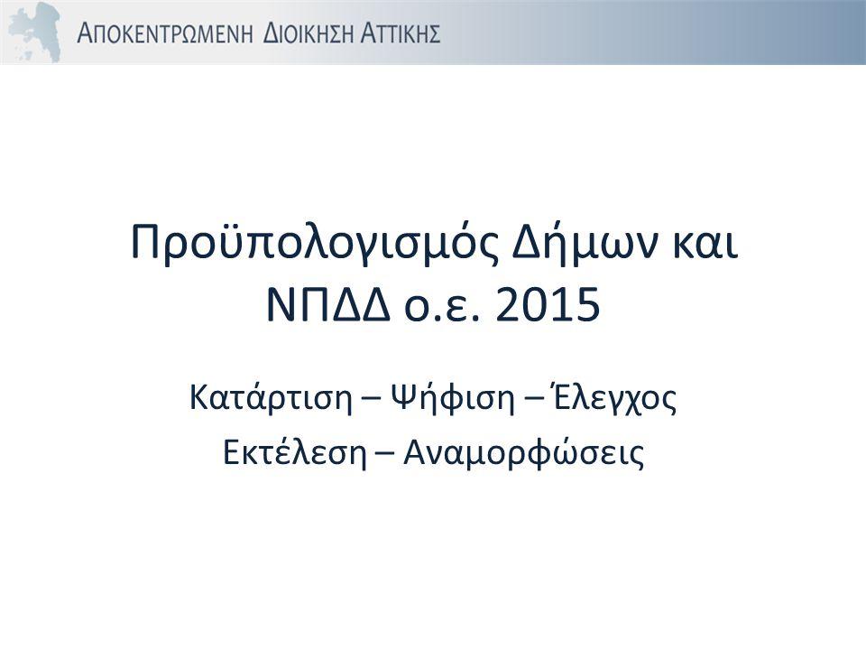 Προϋπολογισμός Δήμων και ΝΠΔΔ ο.ε. 2015 Κατάρτιση – Ψήφιση – Έλεγχος Εκτέλεση – Αναμορφώσεις