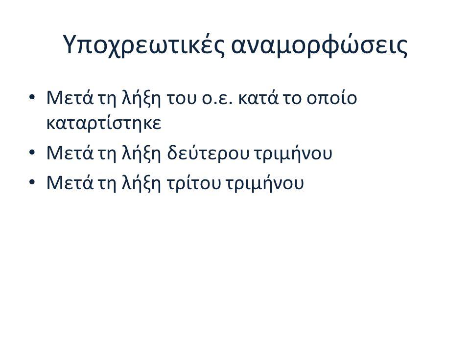 Υποχρεωτικές αναμορφώσεις Μετά τη λήξη του ο.ε. κατά το οποίο καταρτίστηκε Μετά τη λήξη δεύτερου τριμήνου Μετά τη λήξη τρίτου τριμήνου