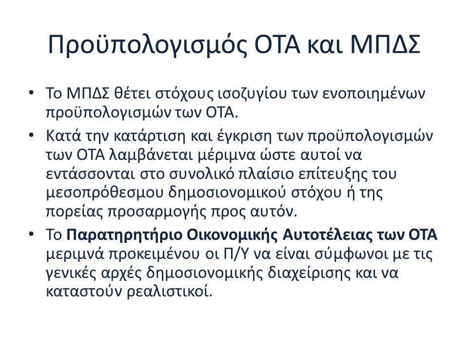 Προϋπολογισμός ΟΤΑ και ΜΠΔΣ Το ΜΠΔΣ θέτει στόχους ισοζυγίου των ενοποιημένων προϋπολογισμών των ΟΤΑ. Κατά την κατάρτιση και έγκριση των προϋπολογισμών