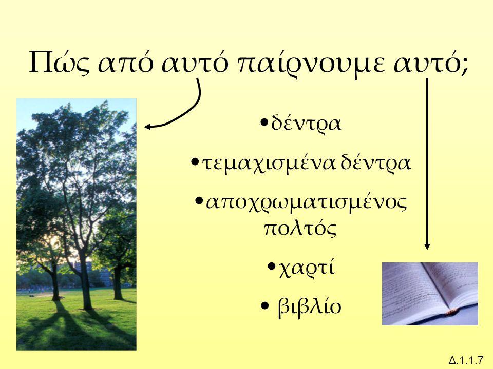 Πώς από αυτό παίρνουμε αυτό; Δ.1.1.7 δέντρα τεμαχισμένα δέντρα αποχρωματισμένος πολτός χαρτί βιβλίο