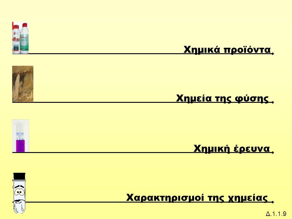 Δ.1.1.9 Χημικά προϊόντα Χημεία της φύσης Χημική έρευνα Χαρακτηρισμοί της χημείας