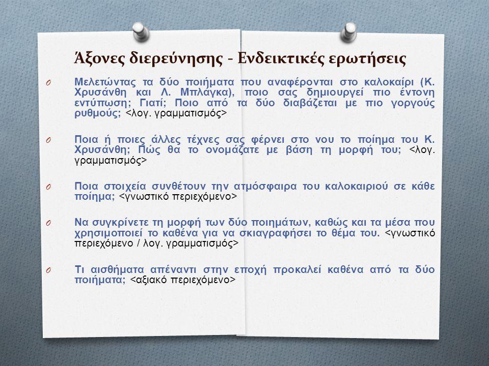 Άξονες διερεύνησης - Ενδεικτικές ερωτήσεις O Μελετώντας τα δύο ποιήματα που αναφέρονται στο καλοκαίρι (Κ. Χρυσάνθη και Λ. Μπλάγκα), ποιο σας δημιουργε