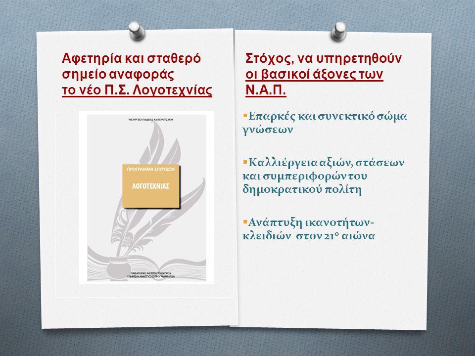 Αφετηρία και σταθερό σημείο αναφοράς το νέο Π.Σ. Λογοτεχνίας Στόχος, να υπηρετηθούν οι βασικοί άξονες των Ν.Α.Π.  Επαρκές και συνεκτικό σώμα γνώσεων