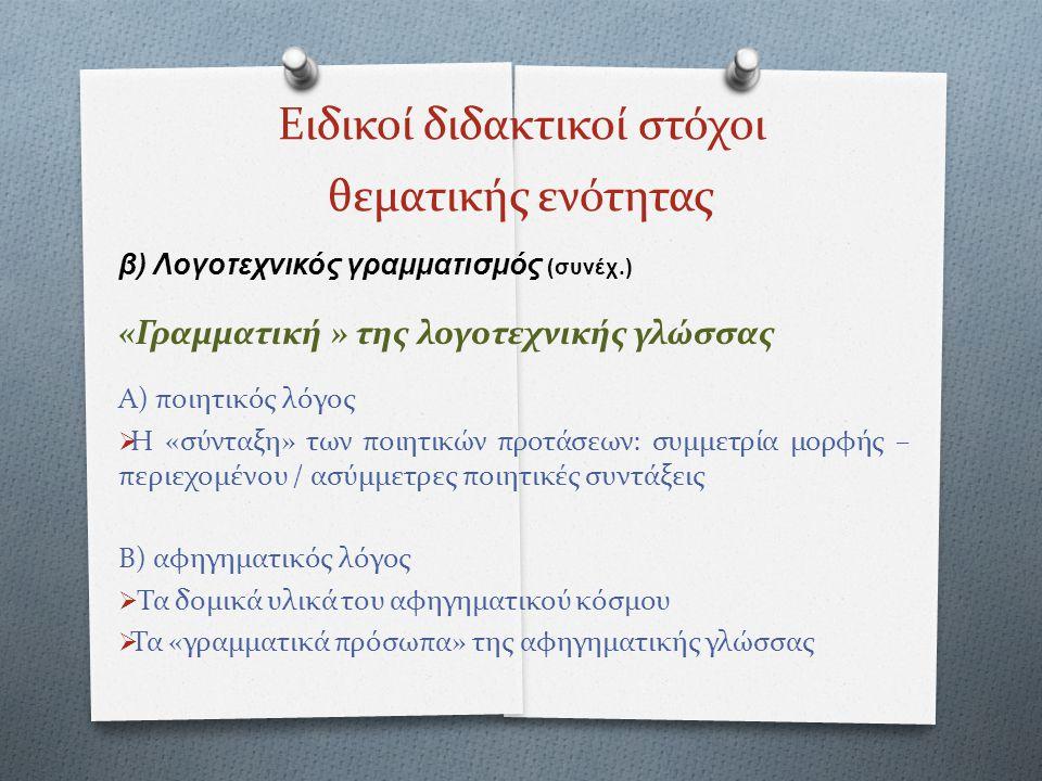 Ειδικοί διδακτικοί στόχοι θεματικής ενότητας β) Λογοτεχνικός γραμματισμός (συνέχ.) «Γραμματική » της λογοτεχνικής γλώσσας Α) ποιητικός λόγος  Η «σύντ