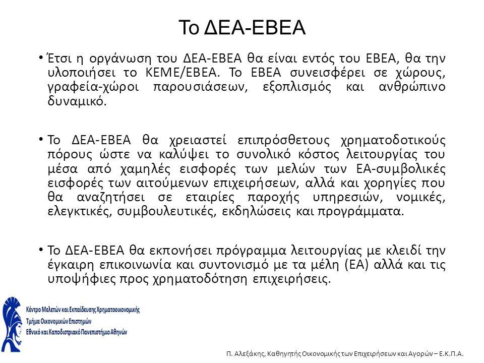Το ΔΕΑ-ΕΒΕΑ Έτσι η οργάνωση του ΔΕΑ-ΕΒΕΑ θα είναι εντός του ΕΒΕΑ, θα την υλοποιήσει το ΚΕΜΕ/ΕΒΕΑ. Το ΕΒΕΑ συνεισφέρει σε χώρους, γραφεία-χώροι παρουσι
