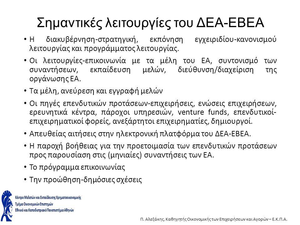 Σημαντικές λειτουργίες του ΔΕΑ-ΕΒΕΑ Η διακυβέρνηση-στρατηγική, εκπόνηση εγχειριδίου-κανονισμού λειτουργίας και προγράμματος λειτουργίας. Οι λειτουργίε