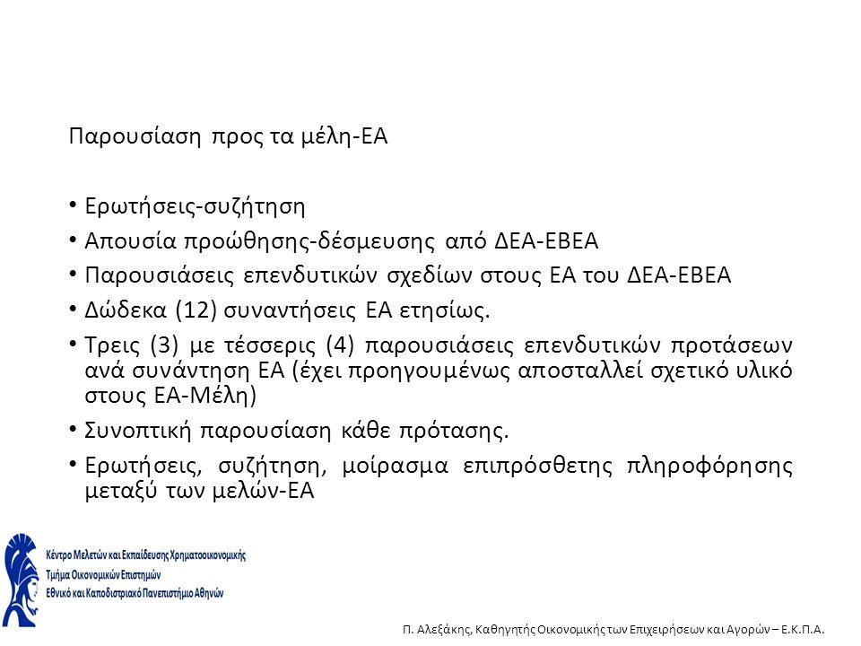 Παρουσίαση προς τα μέλη-ΕΑ Ερωτήσεις-συζήτηση Απουσία προώθησης-δέσμευσης από ΔΕΑ-ΕΒΕΑ Παρουσιάσεις επενδυτικών σχεδίων στους ΕΑ του ΔΕΑ-ΕΒΕΑ Δώδεκα (