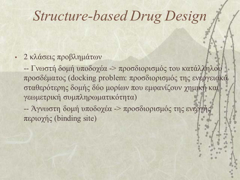 Structure-based Drug Design  2 κλάσεις προβλημάτων -- Γνωστή δομή υποδοχέα -> προσδιορισμός του κατάλληλου προσδέματος (docking problem: προσδιορισμό