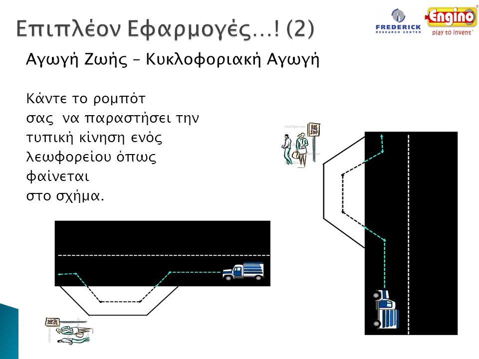 Αγωγή Ζωής – Κυκλοφοριακή Αγωγή Κάντε το ρομπότ σας να παραστήσει την τυπική κίνηση ενός λεωφορείου όπως φαίνεται στο σχήμα. 31/07/2012 Νικλεια Ετεοκλ