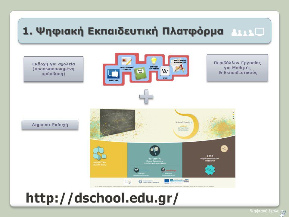 1. Ψηφιακή Εκπαιδευτική Πλατφόρμα Δημόσια Εκδοχή Περιβάλλον Εργασίας για Μαθητές & Εκπαιδευτικούς Περιβάλλον Εργασίας για Μαθητές & Εκπαιδευτικούς Εκδ