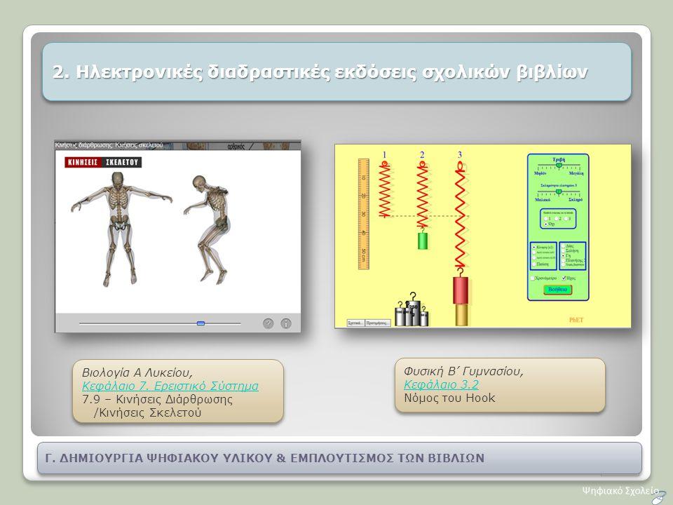 2. Ηλεκτρονικές διαδραστικές εκδόσεις σχολικών βιβλίων Βιολογία Α Λυκείου, Κεφάλαιο 7. Ερειστικό Σύστημα 7.9 – Κινήσεις Διάρθρωσης /Κινήσεις Σκελετού