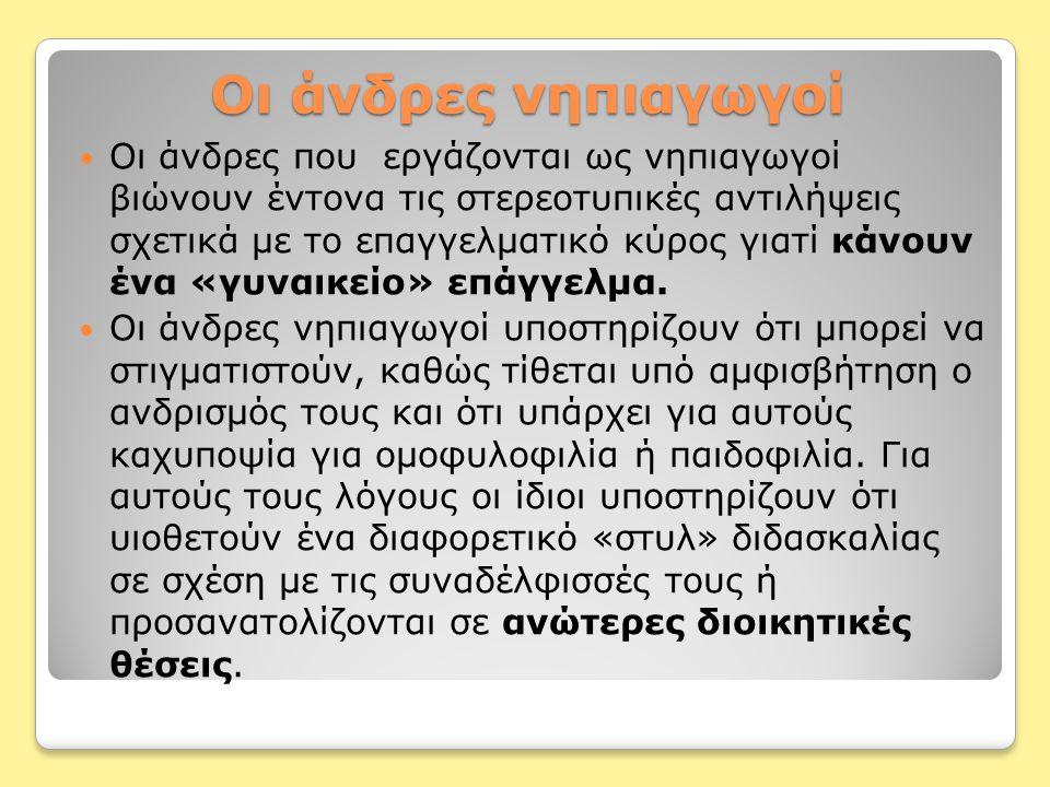 Νηπιαγωγοί και Διοίκηση της Εκπαίδευσης Στην εκπαίδευση στην Ελλάδα παρατηρείται κατανομή διδασκόντων/-ουσών, με βάση το φύλο, σε όλες τις βαθμίδες της εκπαίδευσης, δηλαδή οι χαμηλού κύρους και αμοιβής βαθμίδες των δασκάλων, των νηπιαγωγών κ.α.