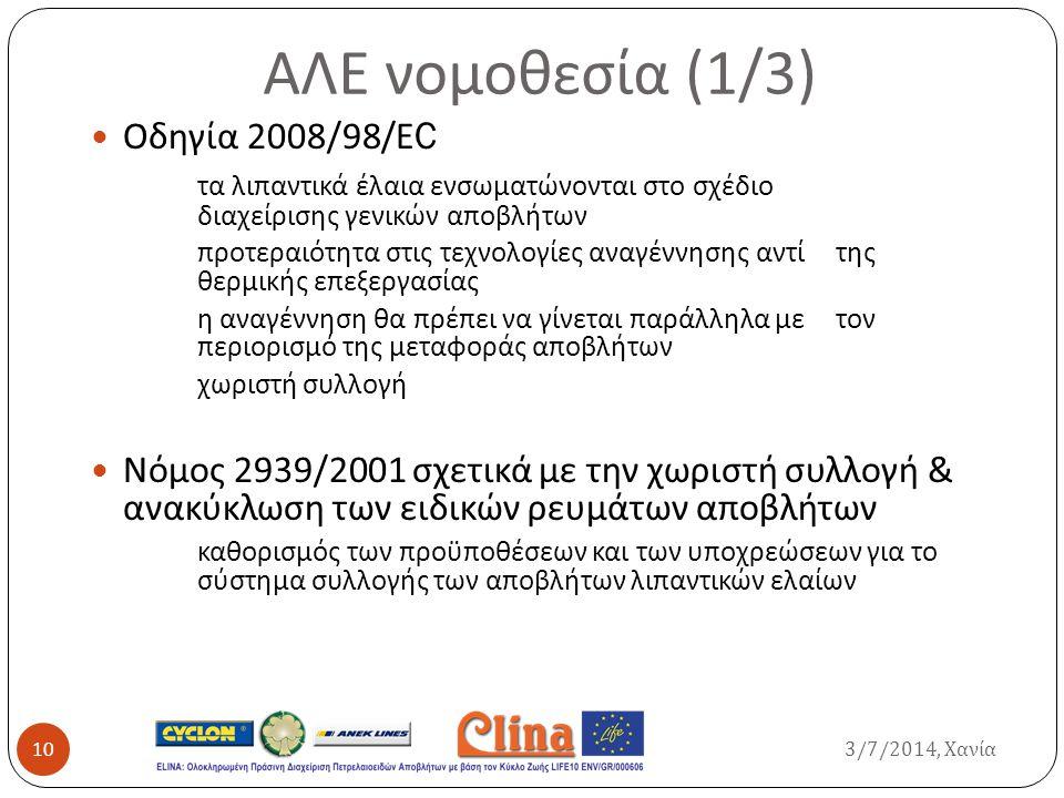 ΑΛΕ νομοθεσία (1/3) Οδηγία 2008/98/ Ε C τα λιπαντικά έλαια ενσωματώνονται στο σχέδιο διαχείρισης γενικών αποβλήτων προτεραιότητα στις τεχνολογίες αναγ